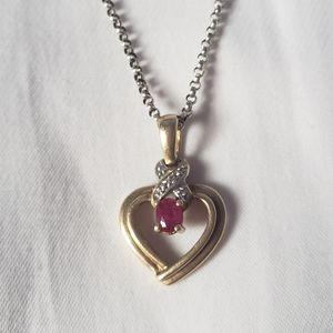 14K Ruby Heart Pendant Necklace